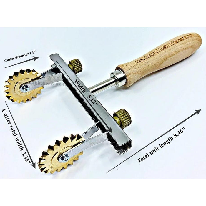 Brass Adjustable Fluted Pastry and Pasta Cutter with 2 Wheels USA Dimensions