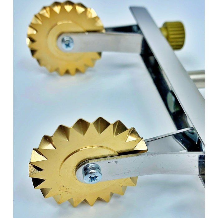 Brass Adjustable Fluted Pastry and Pasta Cutter with 2 Wheels USA