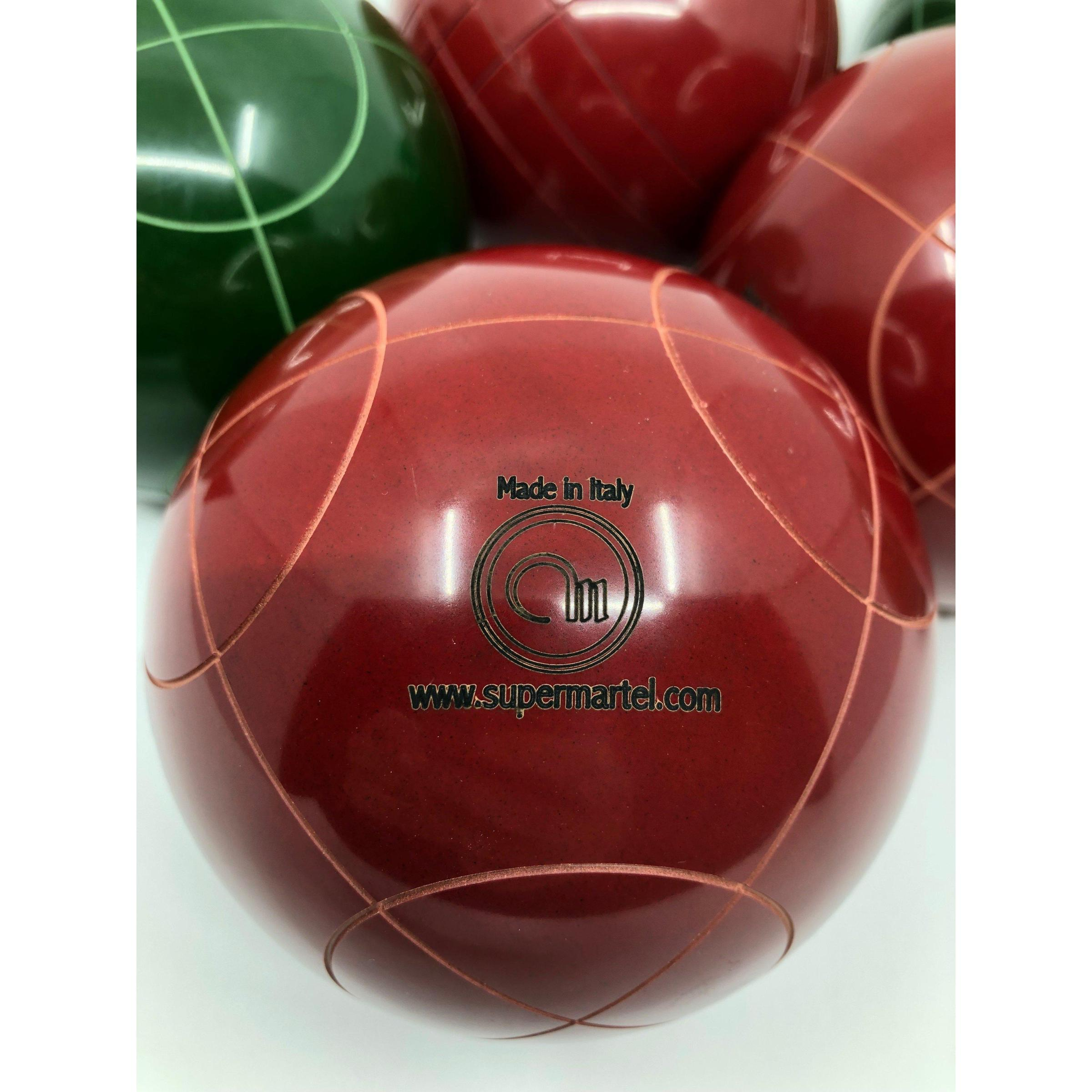Super Martel Professional Bocce Ball Set 107mm Made in Italy Tournament Rated Bocce Balls