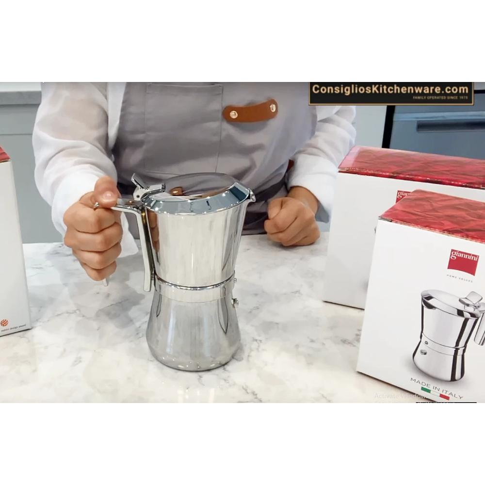 Giannina 1 cup Stainless Steel Stovetop Espresso Maker -  Made in Italy with Patented Locking Handle Espresso Maker
