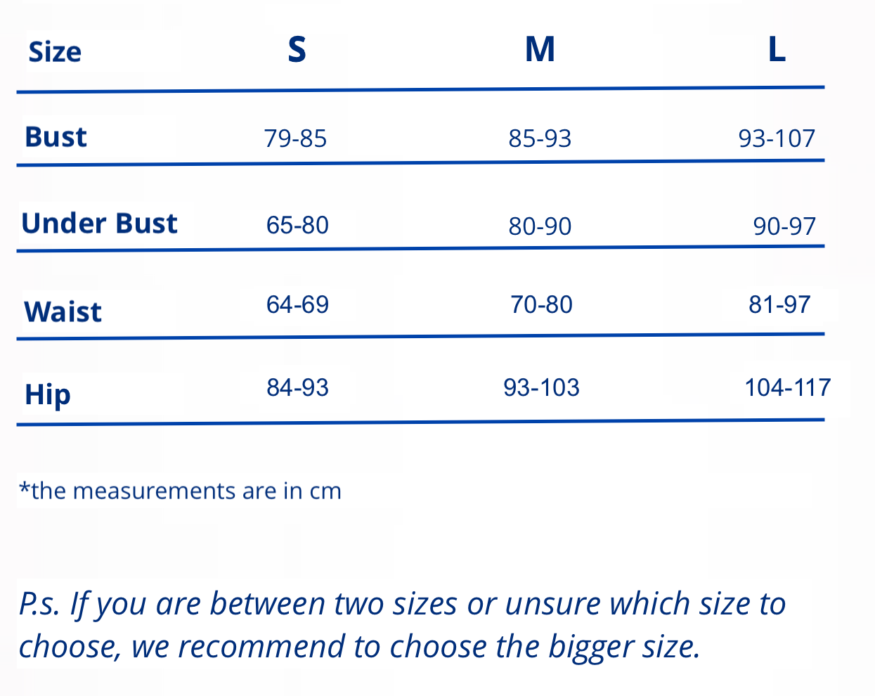 Size guide eco-friendly activewear regenerated nylon