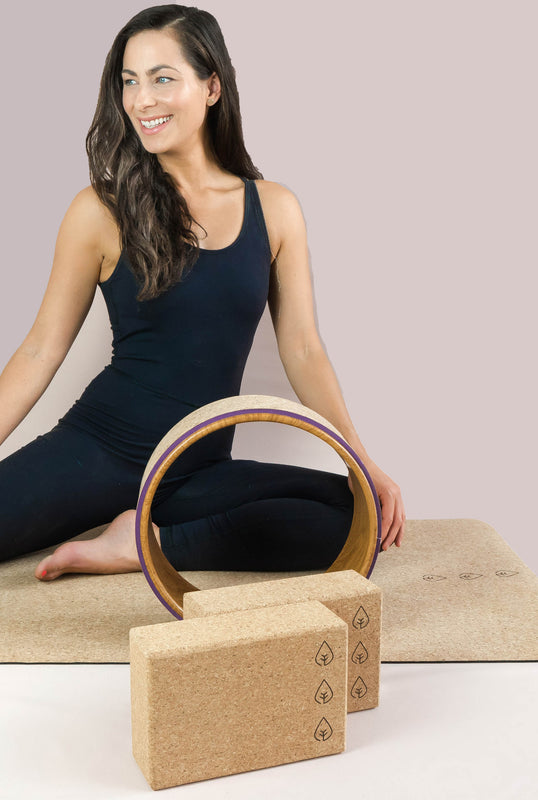 cork mat, cork yoga wheel, cork blocks, yoga blocks