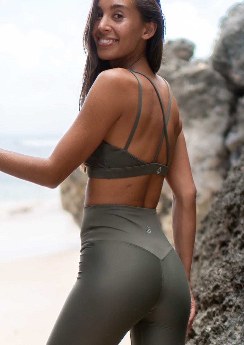 Bralette Top - Olive Green (Shiny)