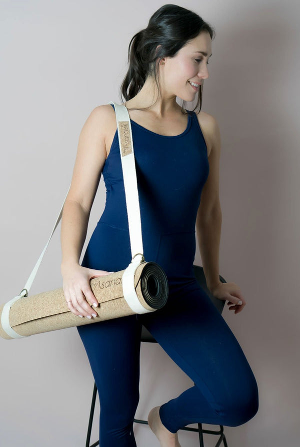 cork yoga mat, carrying strap
