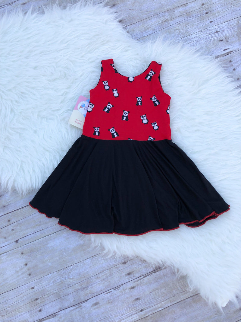 Chloe Playdate Dress- Red Pandas & Black