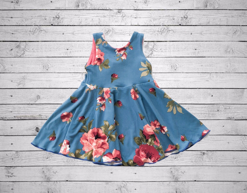 Olivia Scoop Back Dress- Blue Floral