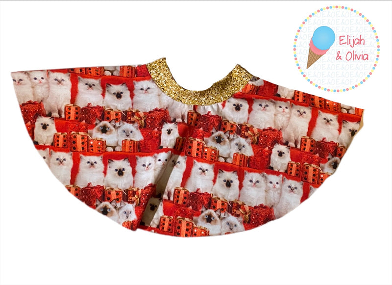 Sienna Twirl Skirt- Christmas Kitties