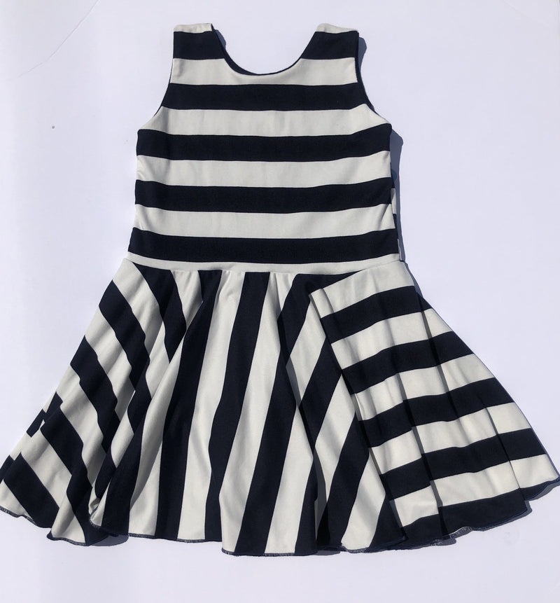 Chloe Playdate Dress- Blue & White Stripes