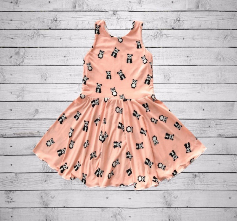 Chloe Playdate Dress- Peach Pandas