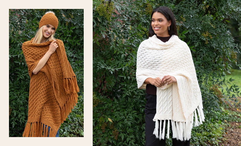 Two female models showing Cable Scarves with Fringe