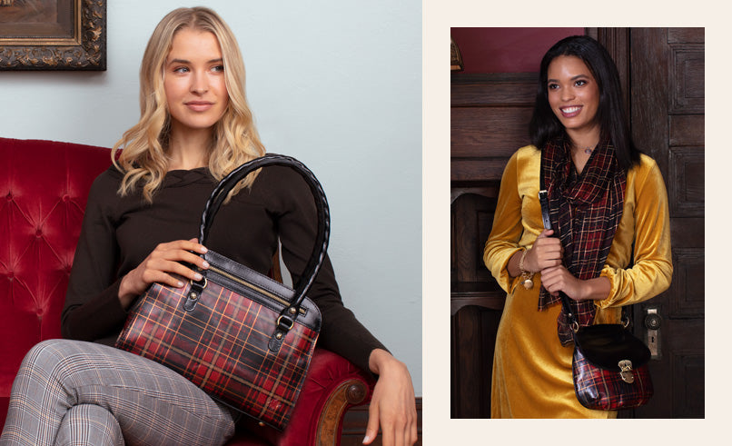 Two female models showing off the Calvi Satchel and Veneto with Scarf in Tartan Plaid