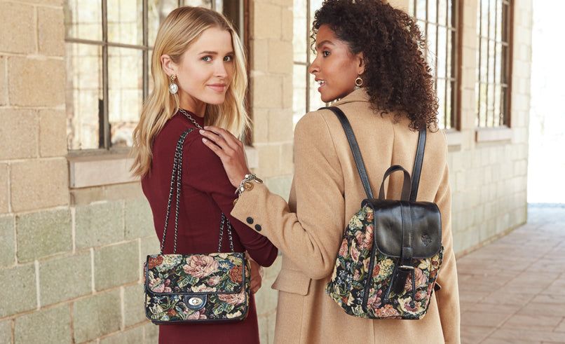 lorenza and aberdeen bags in woven floral tapestry
