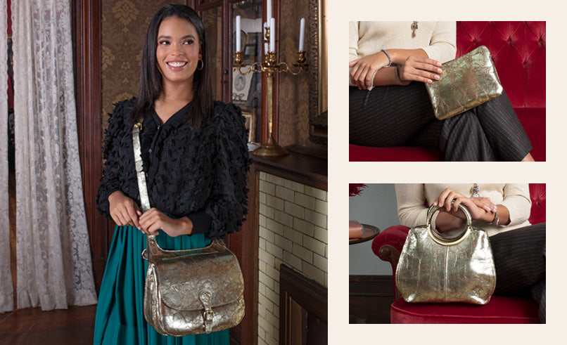 Female models featuring the London Saddle Bag, Cassini Wristlet and Aria Shopper