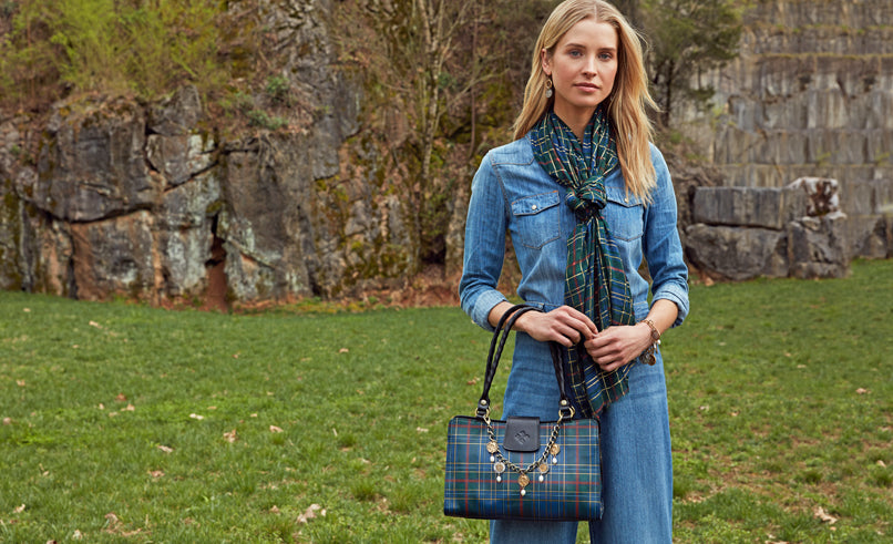 rienzo bag in blue green tartan
