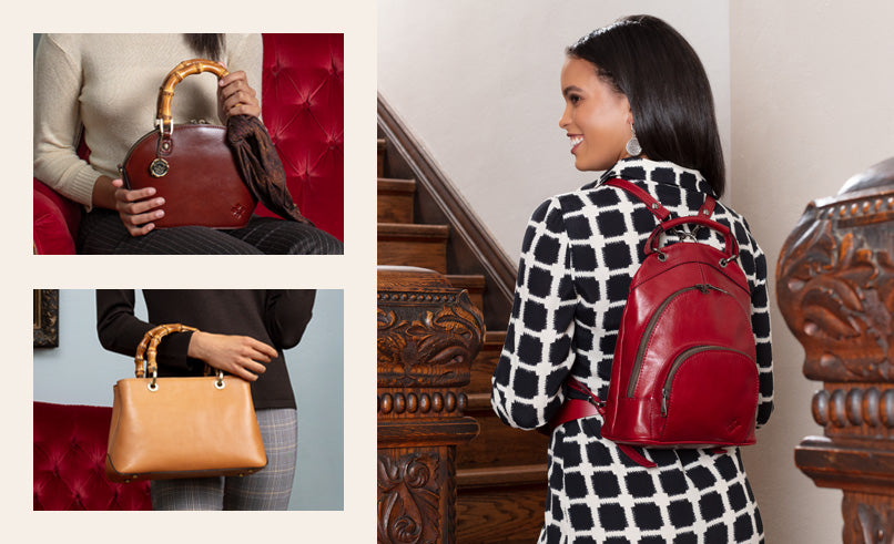 Female model Alencon backpack in red, Mellini and Angela in Vintage Veg Tan