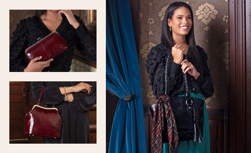 Female model showing Zorita Satchel in Vintage Patent, black with a Tartan handbag scarf