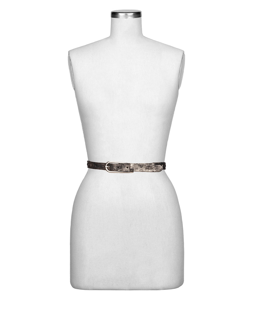 Esperia Chain Link Belt - Metallic Distressed Leather 2