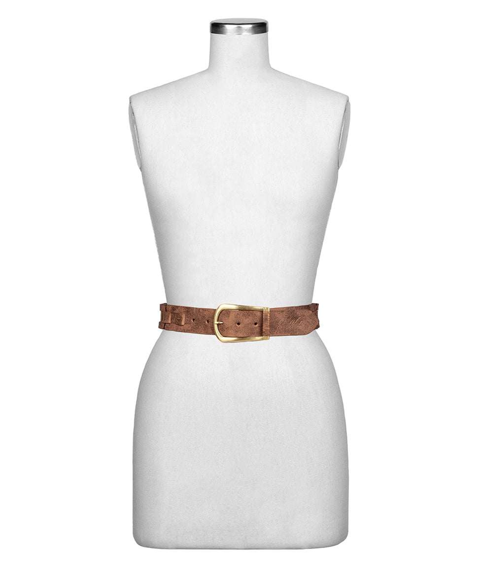 Alette Chain Link Belt - Metallic Distressed Leather Antique Gold 2