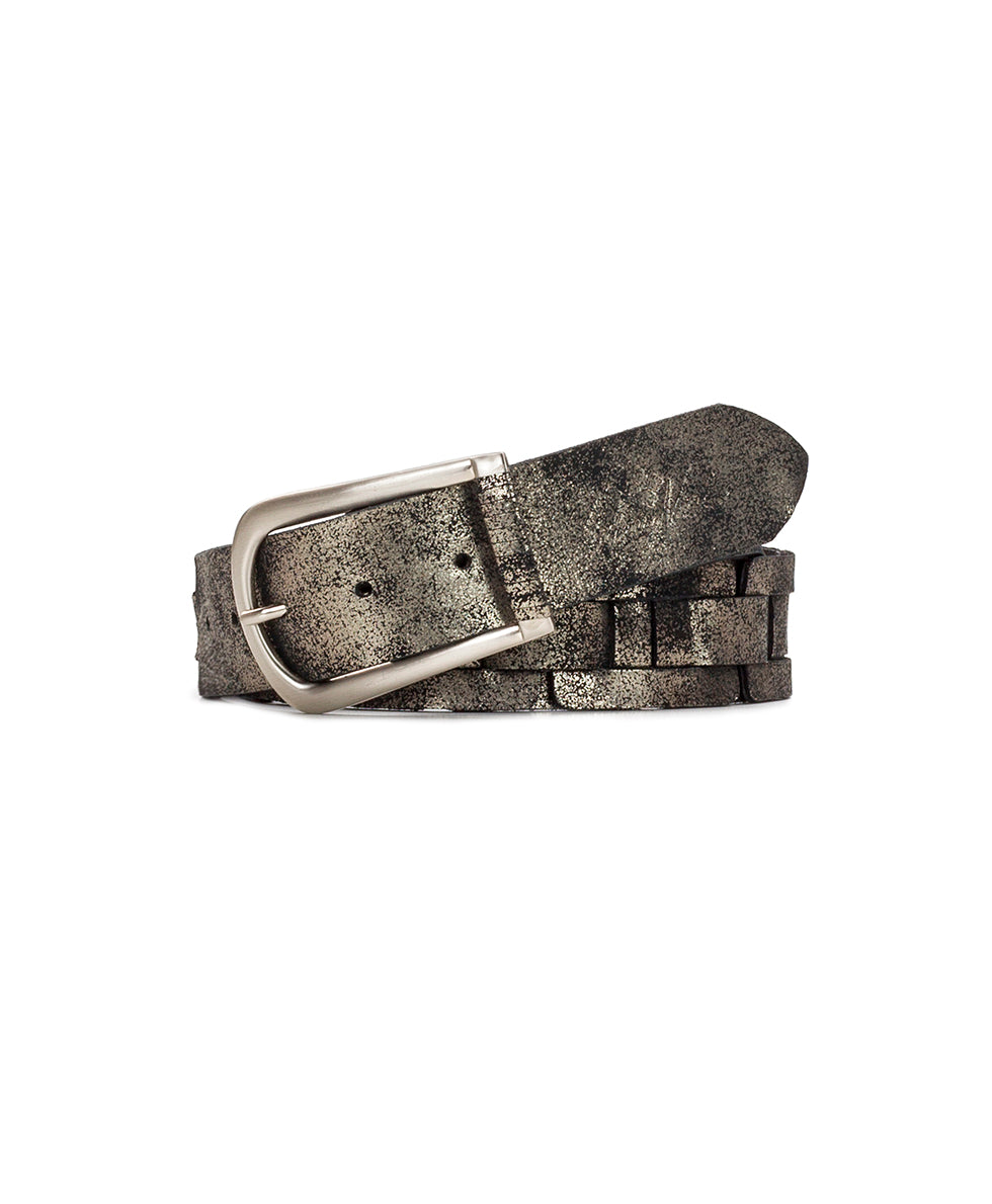 Alette Chain Link Belt - Metallic Distressed Leather Antique Silver