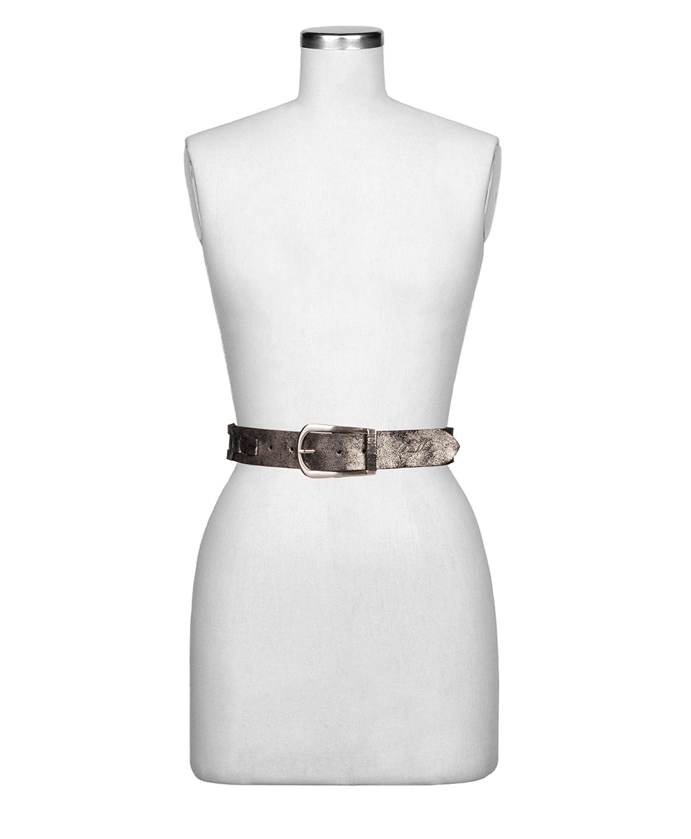 Alette Chain Link Belt - Metallic Distressed Leather Antique Silver 2