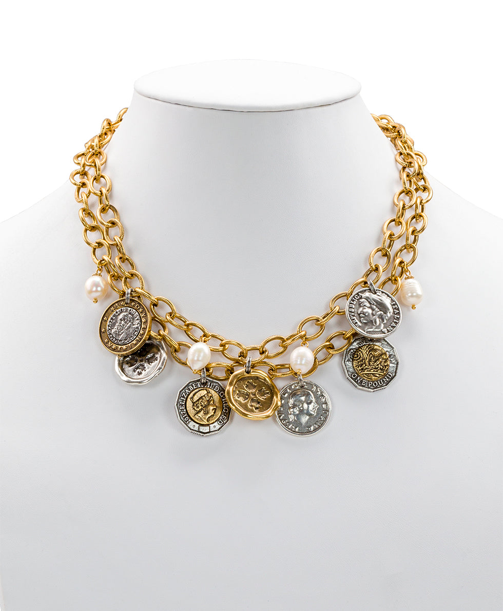 World Coin Double Charm Necklace - World Coin Double Charm Necklace