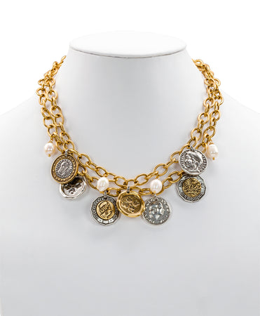 World Coin Double Charm Necklace - Russian Gold