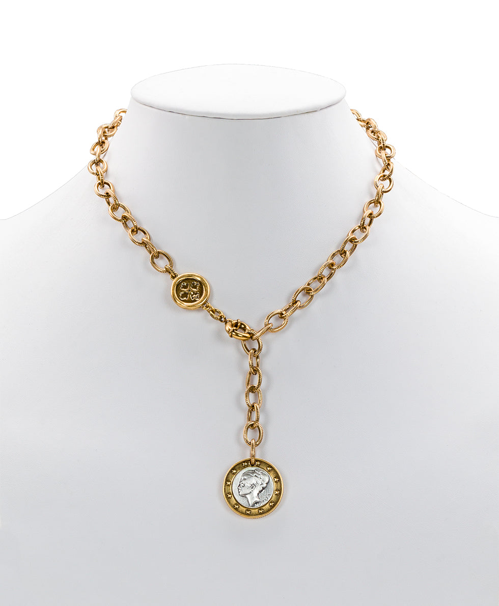 World Coin Russian Gold Single Y Necklace
