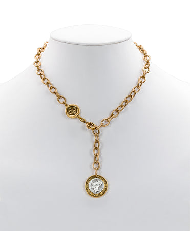 World Coin Russian Gold Single Y Necklace - World Coin Russian Gold Single Y Necklace