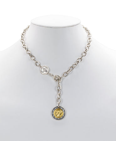 World Coin Silver Ox Single Y Necklace