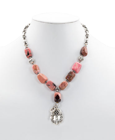 Lock & Key Rhodonite Necklace