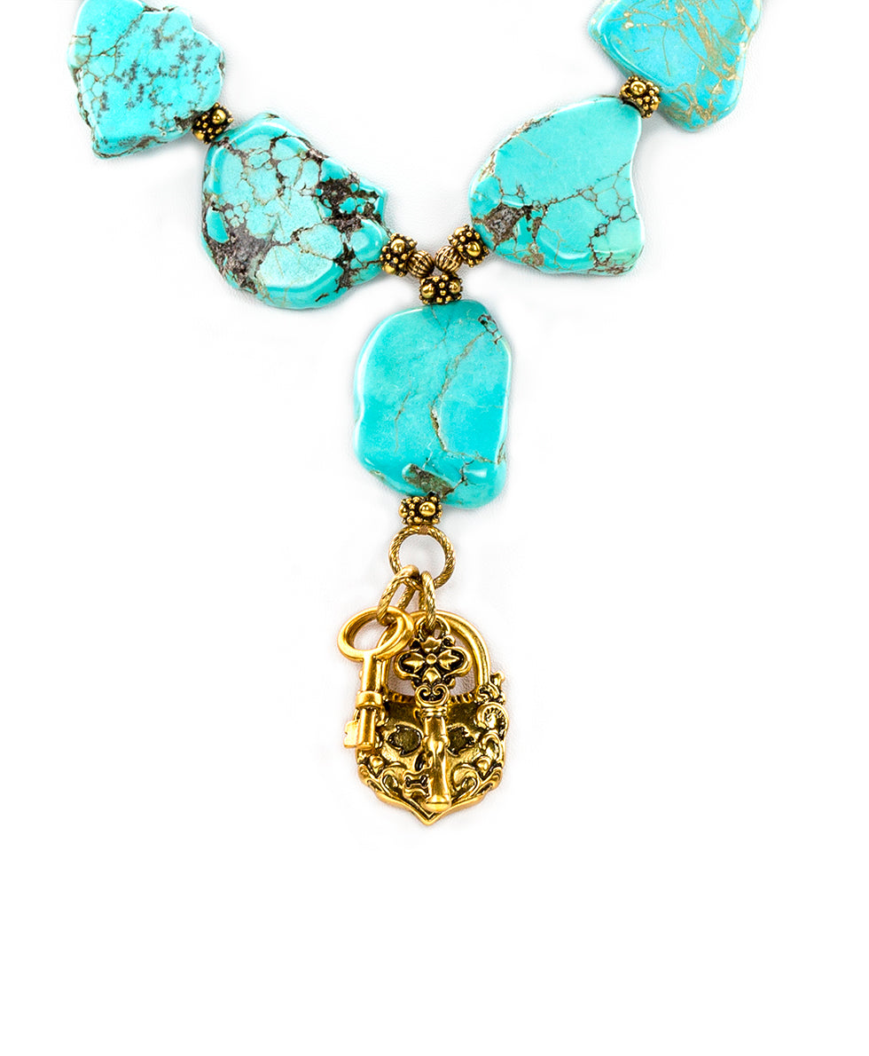 Lock & Key Turquoise Necklace 2