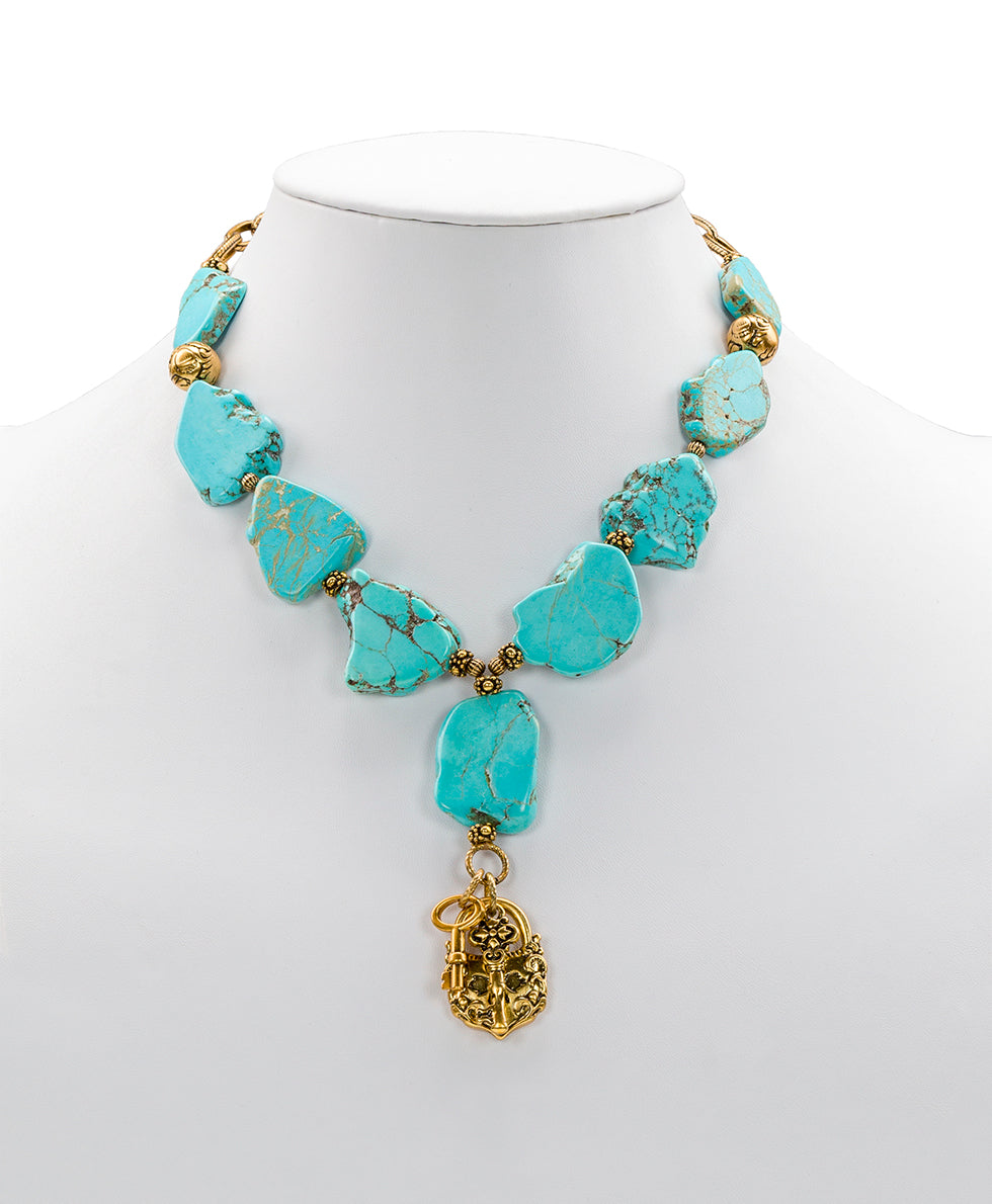 Lock & Key Turquoise Necklace 1