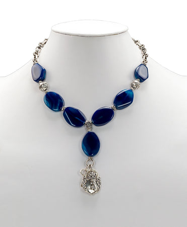 Lock & Key Blue Agate Necklace - Lock & Key Blue Agate Necklace