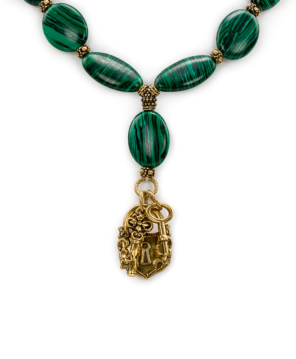 Lock & Key Necklace - Malachite Stone 2