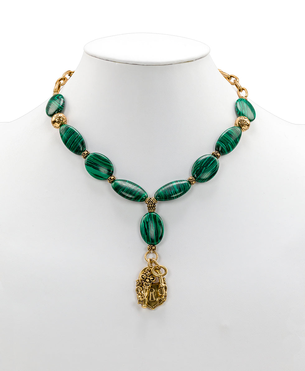 Lock & Key Necklace - Malachite Stone
