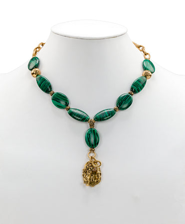 Lock & Key Necklace - Malachite Stone - Lock & Key Necklace - Malachite Stone