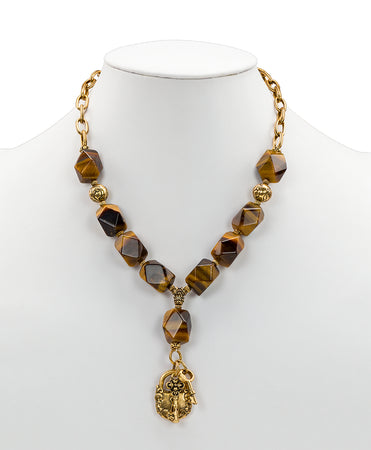 Lock & Key Tiger's Eye Necklace - Lock & Key Tiger's Eye Necklace