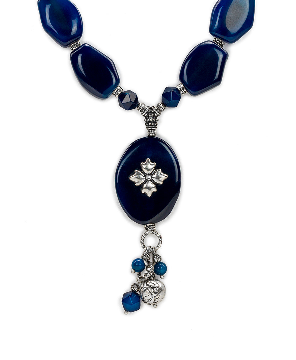 Floret Charm Necklace - Blue Agate 2