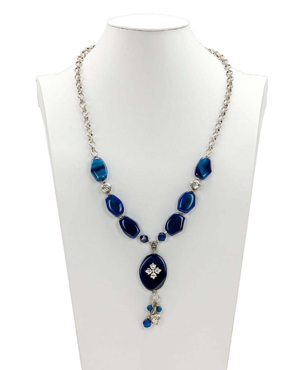 Floret Charm Necklace - Blue Agate