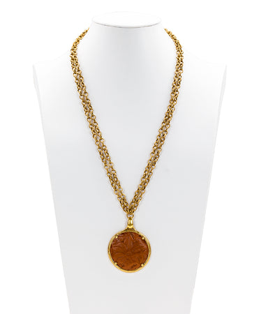 Nicolina Leather Inset Necklace - Florence