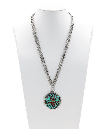 Nicolina Leather Inset Necklace - Tooled Turquoise
