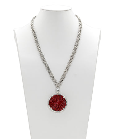 Nicolina Necklace - Tooled Berry Red - Nicolina Necklace - Tooled Berry Red