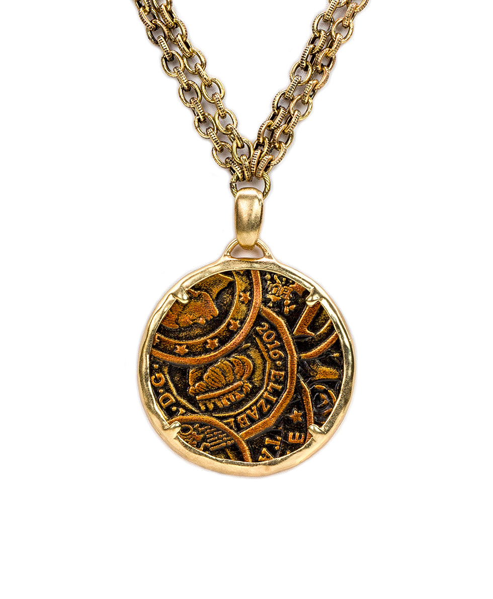 Nicolina Necklace - Coin Tooled Bronze 2