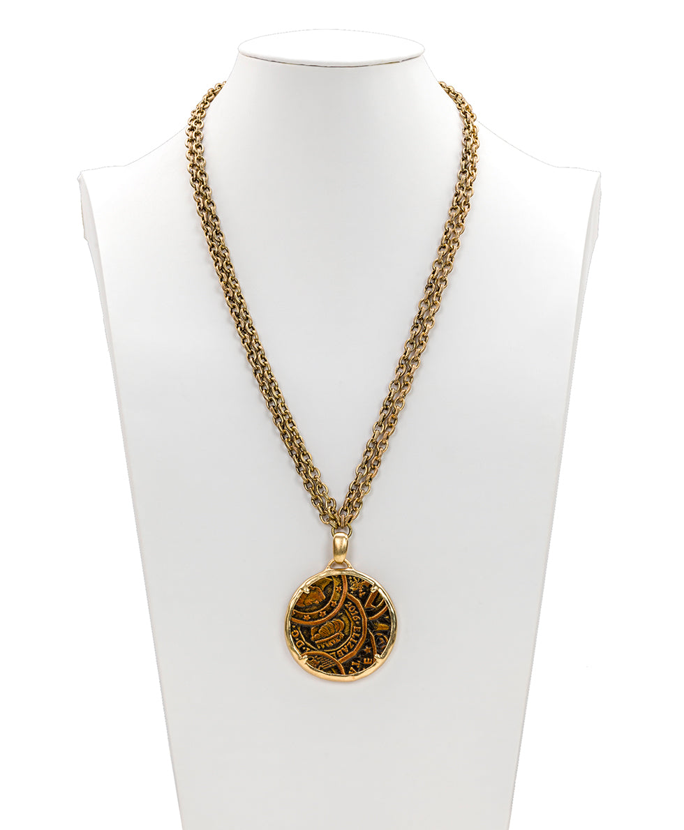 Nicolina Necklace - Coin Tooled Bronze