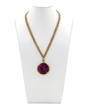 Nicolina Pendant Double Chain Necklace - Fall Tapestry - Nicolina Pendant Double Chain Necklace - Fall Tapestry