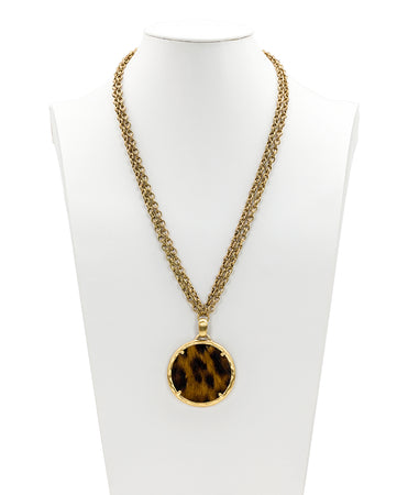 Nicolina Pendant Double Chain Necklace - Leopard - Nicolina Pendant Double Chain Necklace - Leopard