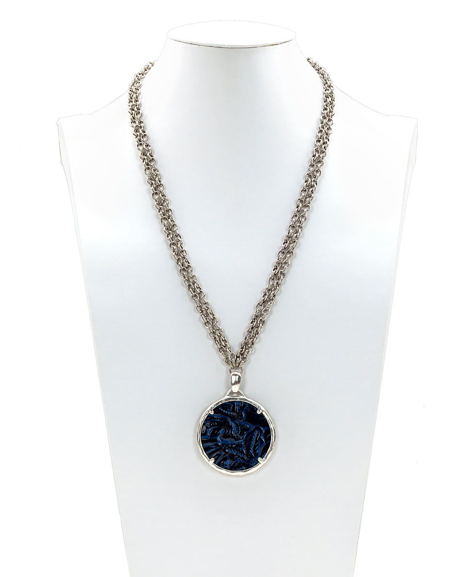 Nicolina Pendant Double Chain Necklace - Tooled Midnight Blue