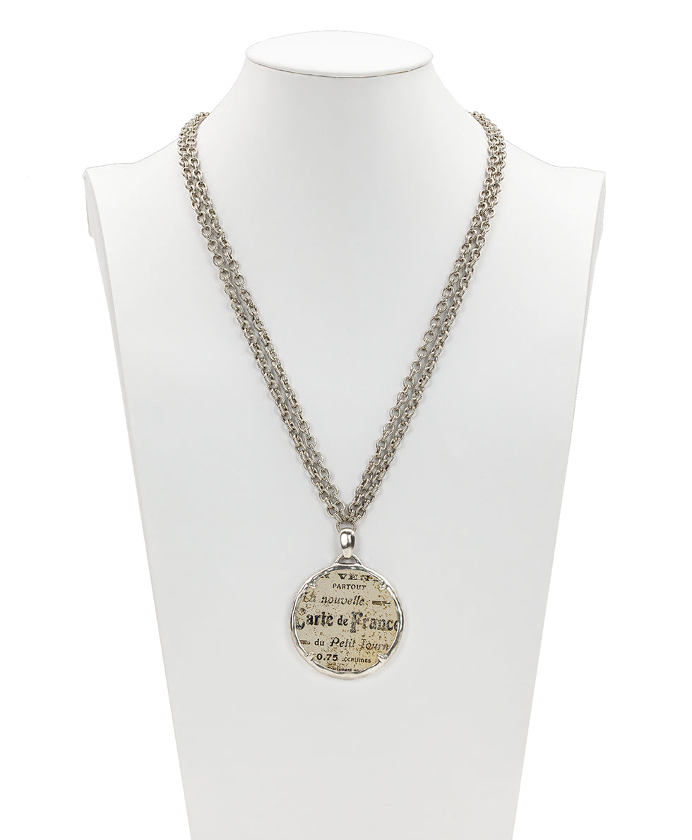 Nicolina Pendant Double Chain Necklace - Newspaper Print