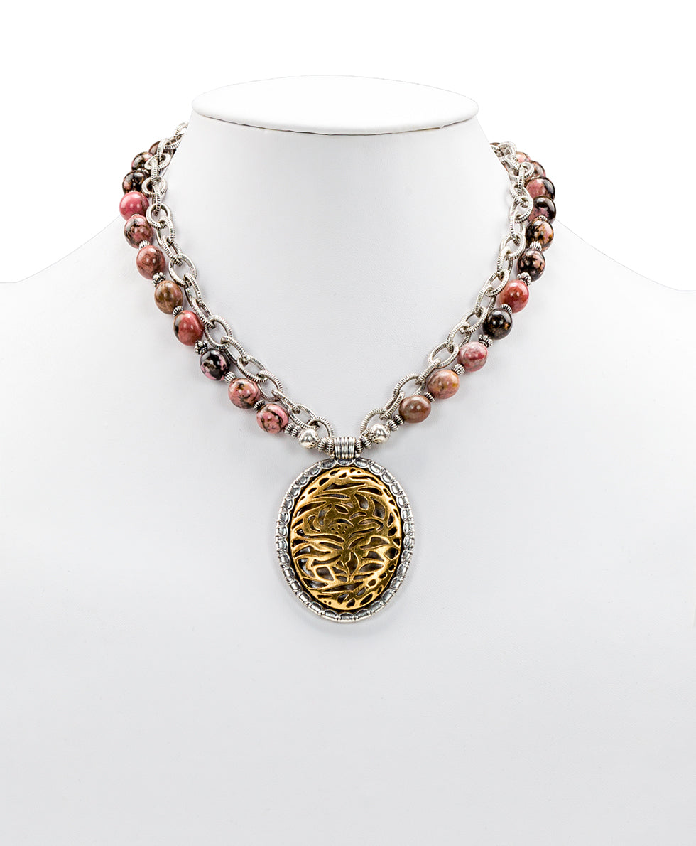 Rhodochrosite Double Chain Pendant Necklace - Cavo Tooling