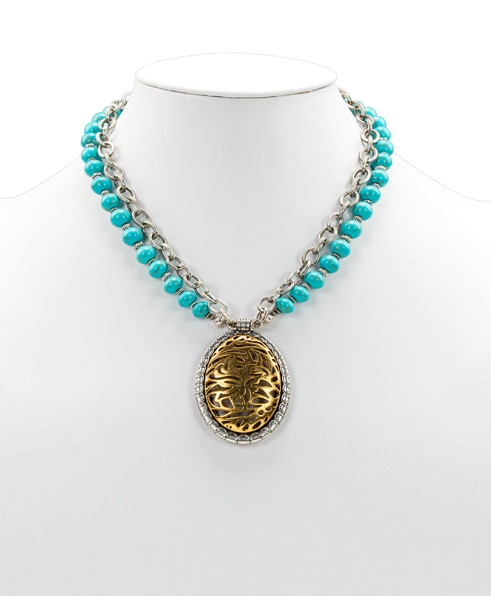 Turquoise Double Chain Pendant Necklace - Cavo Tooling